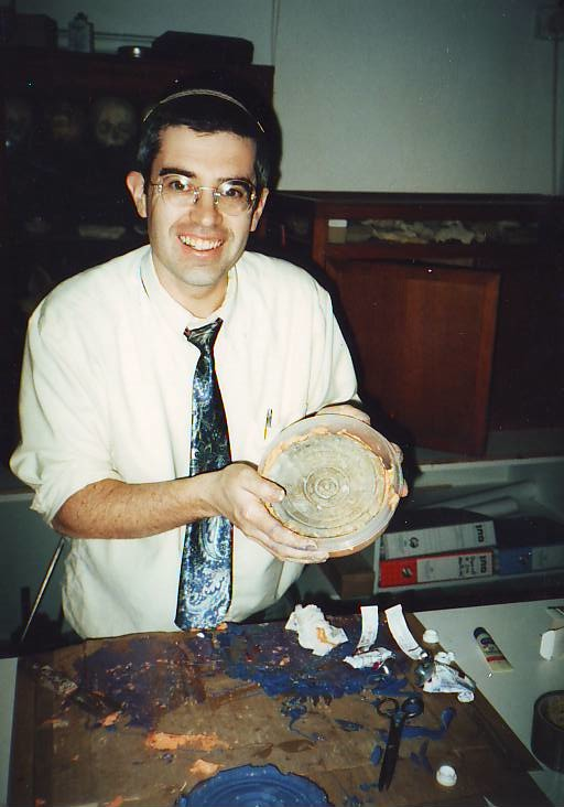 Ari Greenspan making replica  cast of the sundial