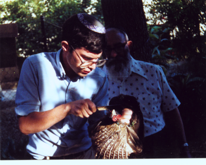 1981 Rav Kaback observing shehcting of Pheasant פסיון and passing us the mesora