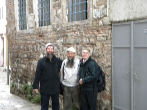 Rabbi's Birbaum, Zivotofsky, and Greenspan in front of The Portuguese Synagogue taken over by Shabbtai Tzvi